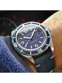Montre homme SPINNAKER FLEUSS automatique bracelet cuir bleu