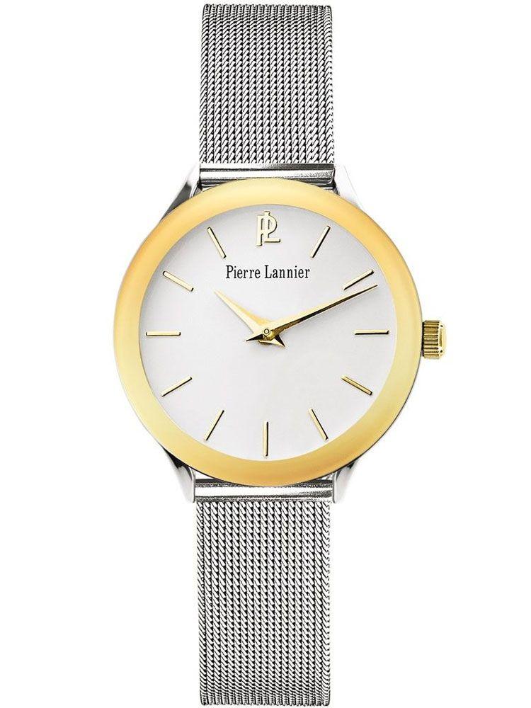 b5eff2e114ce7 Montre femme Pierre Lannier acier milanais et lunette dorée jaune