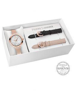 Coffret de montre Pierre Lannier 3 bracelets avec cadran orné de Cristaux Swarovski®