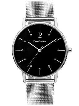 Montre homme Pierre Lannier acier bracelet maille milanaise fond noir
