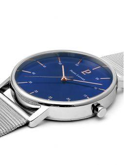 Montre homme Pierre Lannier acier bracelet maille milanaise fond bleu