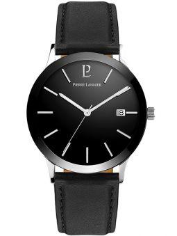 Montre homme Pierre Lannier acier cuir noir