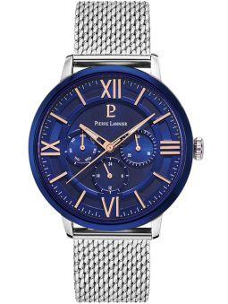 Montre homme Pierre Lannier bracelet milanais fond bleu