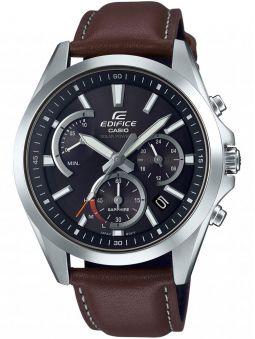 Montre homme Edifice chrono solaire et bracelet cuir marron