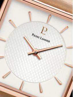 Montre femme Pierre Lannier acier doré rose boitier carré fond blanc