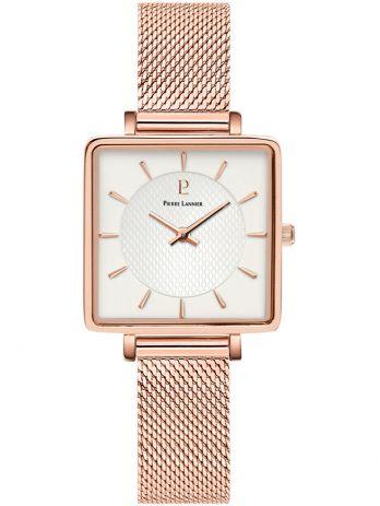 Montre femme Pierre Lannier acier doré rose boitier carré fond blanc 008F928