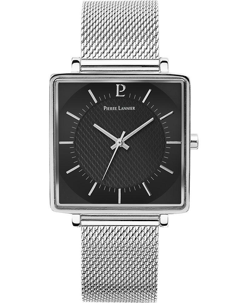 Montre homme Pierre Lannier acier boitier carré bracelet milanais