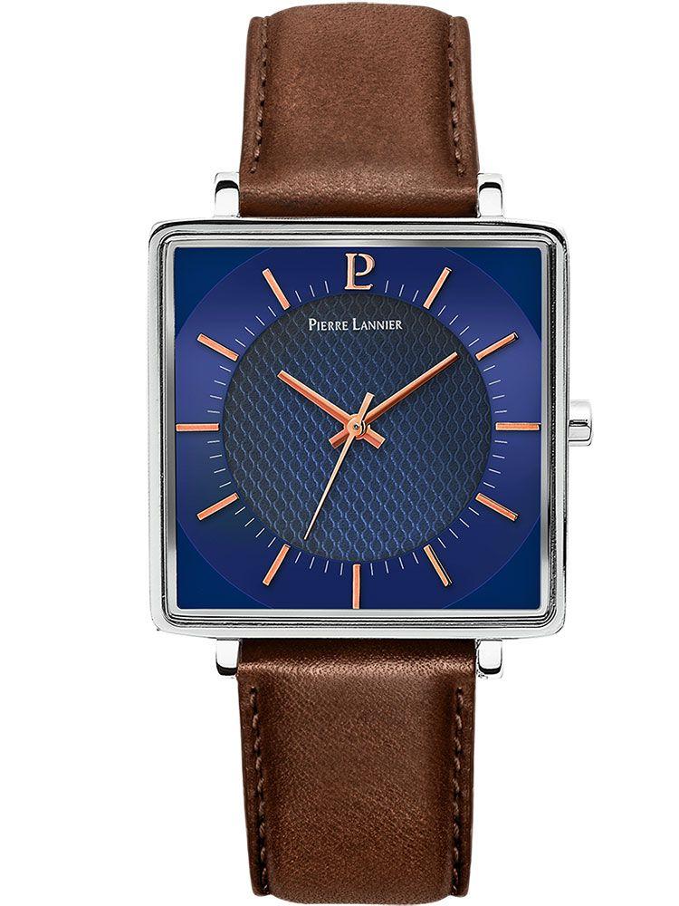 Montre homme Pierre Lannier acier boitier carré bracelet cuir brun