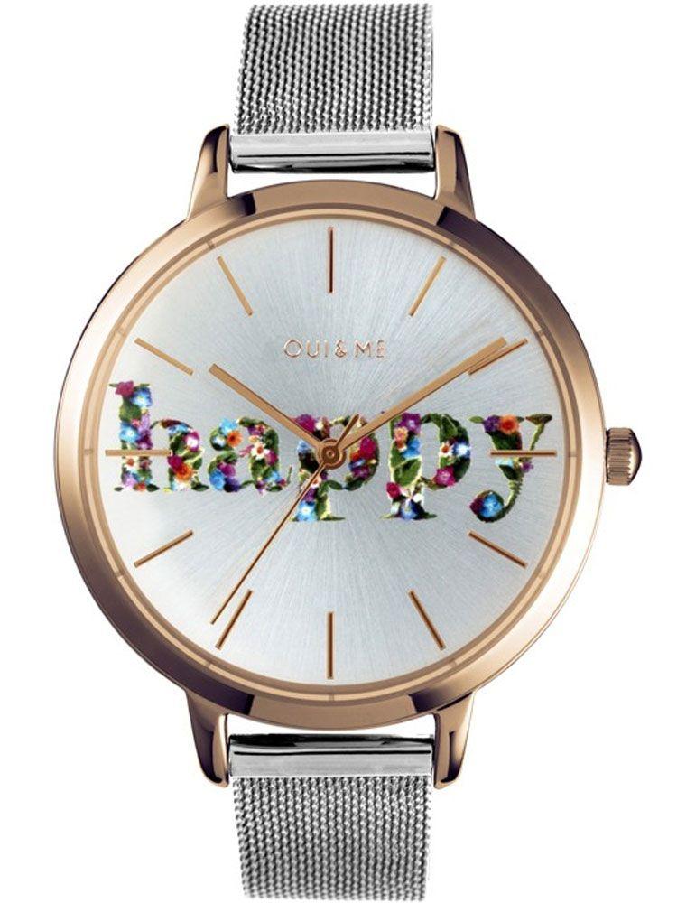 Montre femme Oui & Me grande fleurette Happy bracelet milanais
