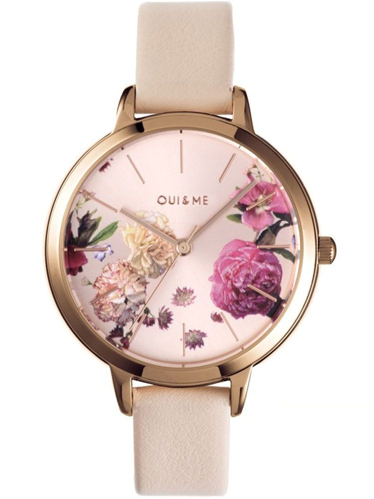Montre femme Oui & Me fleurette bracelet cuir beige