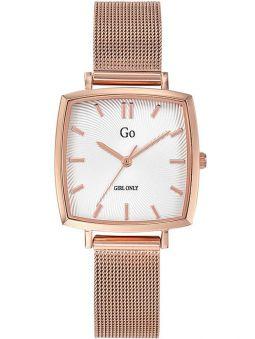 Montre femme Go carrée dorée rose bracelet doré rose