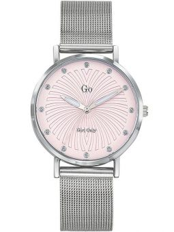 Montre femme Go bracelet milanais fond rose