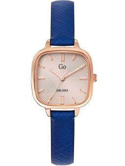 Montre femme Go carré bracelet cuir bleu