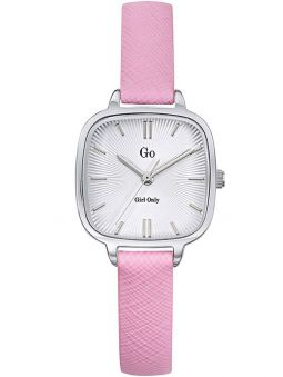 Montre femme Go carré bracelet cuir rose