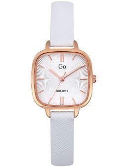 Montre femme Go carré bracelet cuir blanc