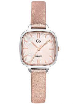 Montre femme Go carré bracelet cuir rose pailleté