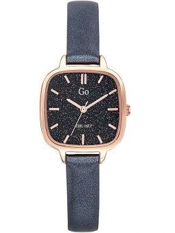 Montre femme Go carré bracelet cuir noir pailleté