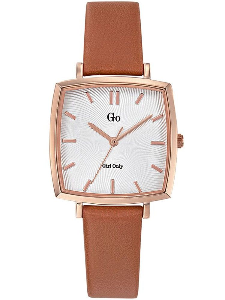 Montre femme Go carré bracelet cuir beige