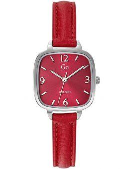 Montre femme Go carré bracelet cuir rouge