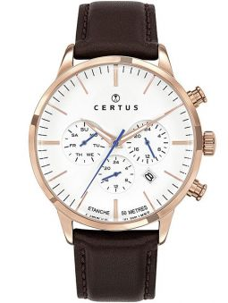 Montre homme Certus cuir marron chronographe