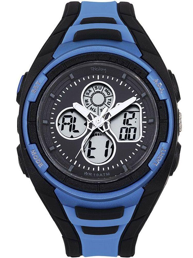 Montre homme Tekday sport noire et bleue 655950