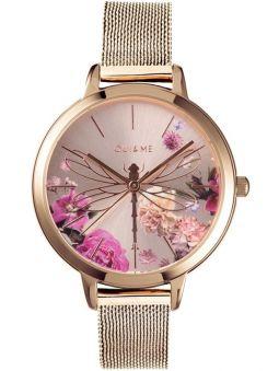 Montre femme Oui & Me fleurette avec libellule bracelet milanais