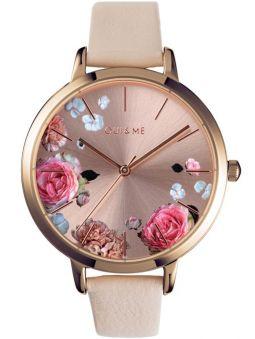 Montre femme Oui & Me grande fleurette cuir rose