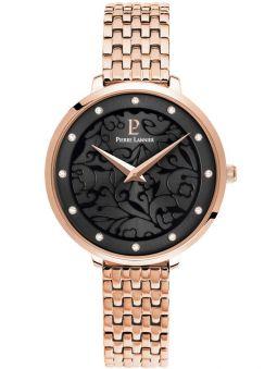 Montre femme Pierre Lannier bracelet rose cadran motif fleuri noir