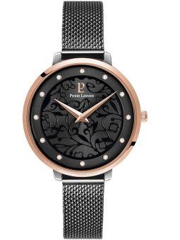 Montre femme Pierre Lannier bracelet milanais noir cadran motif fleuri noir