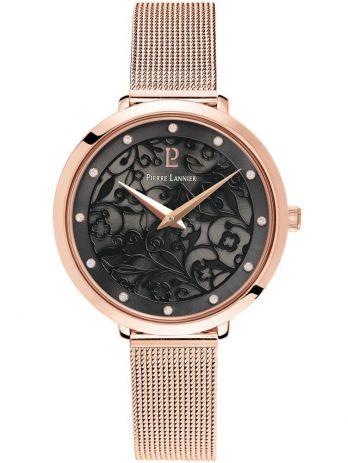 Montre femme Pierre Lannier bracelet milanais rose cadran motif fleuri noir 039L938