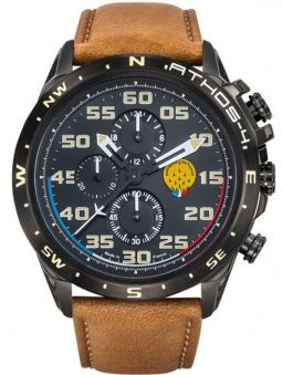 Montre homme Patrouille de France Athos 4 Charognard Chronographe bracelet cuir marron clair