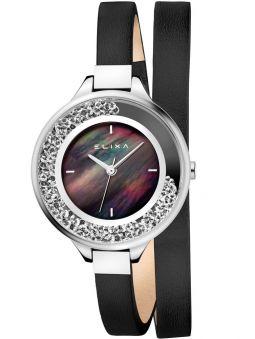 Montre femme Elixa cuir noir bracelet double et strass