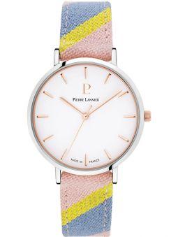 Montre femme Pierre Lannier Catalane bracelet tissu pastel boite acier
