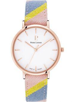Montre femme Pierre Lannier Catalane bracelet tissu pastel boite rose