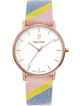 Montre femme Pierre Lannier Catalane bracelet tissu pastel boitier doré rose