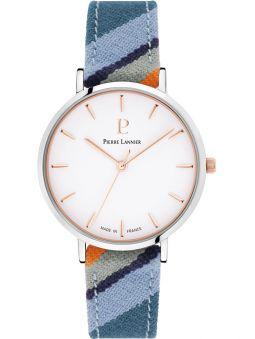 Montre femme Pierre Lannier Catalane bracelet tissu bleu boite acier