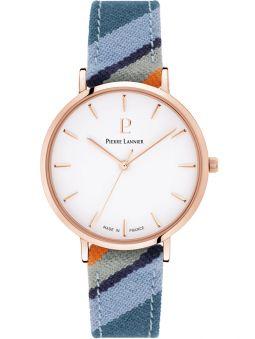 Montre femme Pierre Lannier Catalane bracelet tissu bleu boite doré rose