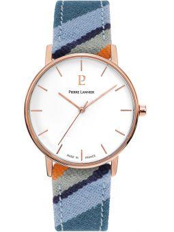 Montre femme Pierre Lannier Catalane bracelet tissu bleu boitier doré rose