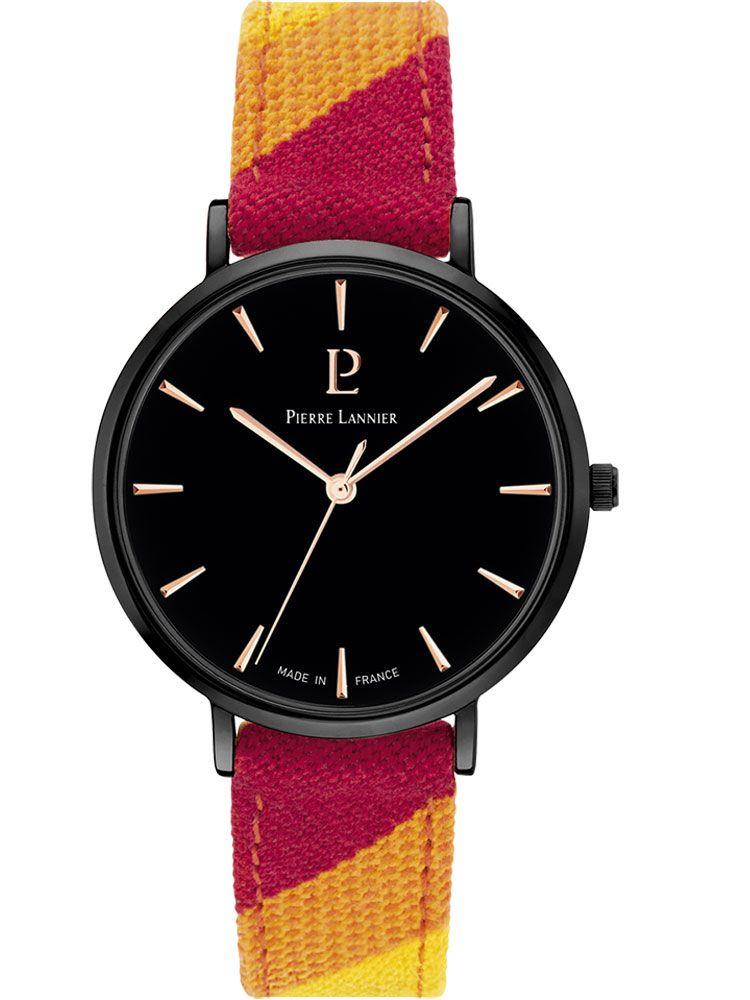 Montre femme Pierre Lannier Catalane bracelet tissu rouge boite acier PVD noir