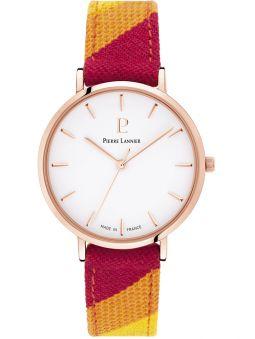 Montre femme Pierre Lannier Catalane bracelet tissu rouge boite doré rose