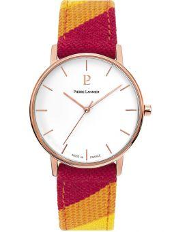 Montre femme Pierre Lannier Catalane bracelet tissu rouge boitier doré rose