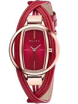Montre femme Elixa cuir multi-lanières rouge