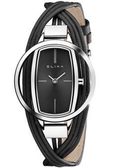 Montre femme Elixa cuir multi-lanières noir