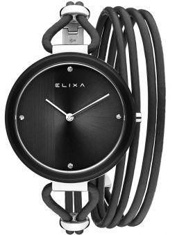 Montre femme Elixa lunette céramique noire et verre saphir