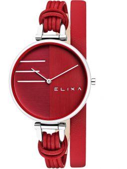 Montre femme Elixa cuir rouge bracelet double