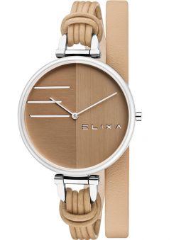 Montre femme Elixa cuir beige bracelet double