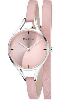 Montre femme Elixa bracelet double tours cuir rose