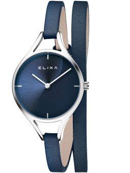 Montre femme Elixa bracelet double tours cuir bleu foncé