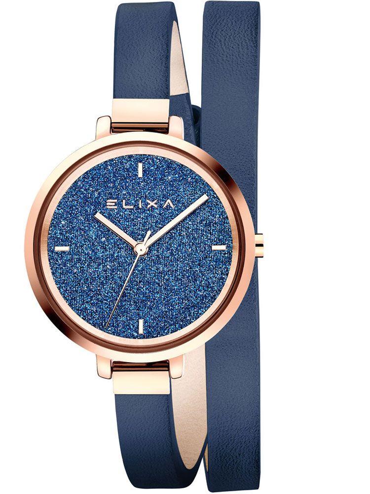 Montre femme Elixa bracelet double tours cuir bleu fond glitter