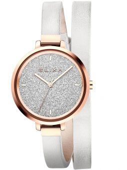 Montre femme Elixa bracelet double tours cuir blanc fond glitter